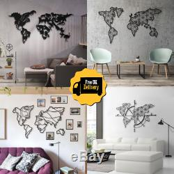 NEW! World Map Style Mounted Metal / Steel Hanging Wall Art Home / Office Decor