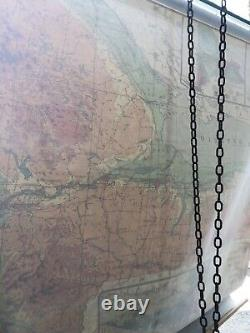NYSTROM & Co. York Physical Political PS 131 Pull Down School Wall School Map