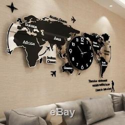 New 3D World Map Large Silent Wall Clock Living Room Home Decor Free Shipping
