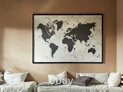 New IKEA World Map Atlas Canvas & Aluminum Frame Large Picture Wall Art