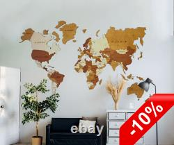 New wall decoration World map home interior with A class wood