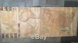 ORIGINAL 1926 Presidential Wall World Atlas Map Geographical Publishing Company