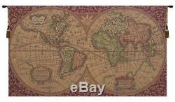 Old Map of the World Red Italian Jacquard Woven Tapestry Textile Wall Hanging