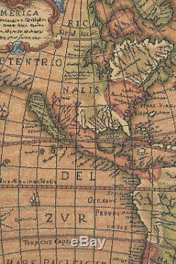 Old Map of the World Red Italian Wall Art Tapestry Wall Hanging