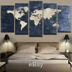 Old Navy Blue World Map Painting 5 Panel Canvas Print Wall Art Home Decor