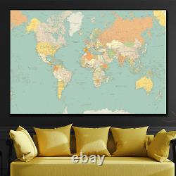 Old Political World Map Antique and Vintage World Maps Canvas Art Print for Wall