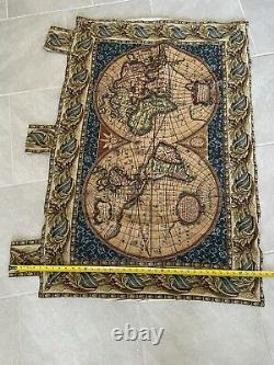 Old World Map Blue Italian Wall Art Tapestry Wall Hanging