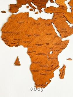 One Layered Wall Wooden World Map sz L (76x 49) with Country Names Oak Color
