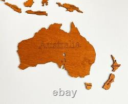 One Layered Wall Wooden World Map sz XL (95x 60) with Country Names Oak Color