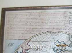 Original Late 1600's World Map, Framed, 27 x 23, Excellent Condition