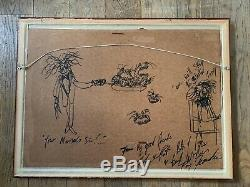 Original TONY FERNANDES Watercolour Pen & Ink Old World Map Picture Nautical