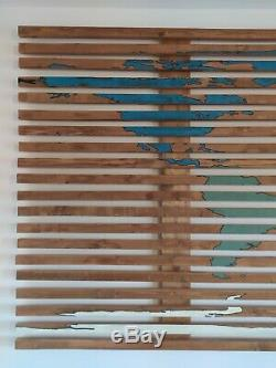 Painted Wood World Map Art Wall Hanging hand made size 2.4m x 1.2m, 7 continents