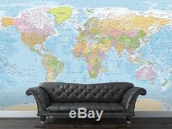 Pastel World Map with Detail Wall Art Wallpaper Mural Non Woven