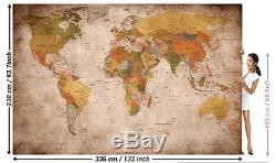 Photo Mural Wall Decoration Globe Continents Atlas World Map XXXL Retro Vintage
