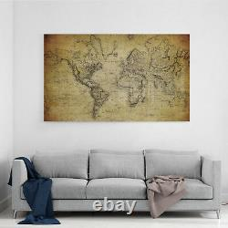 Photo Print Wall Art Picture Tempered Glass Old Vintage World Map Prizma GWA0318