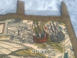 Pictorial Tapestry Antique French Rug Vintage Wall Hanging Decor World Map