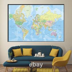 Political World Map Antique and Vintage World Maps Canvas Art Print for Wall Dec