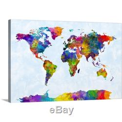 Premium Thick-Wrap Canvas Wall Art entitled Watercolor Map of the World Map