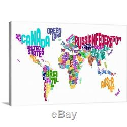Premium Thick-Wrap Canvas Wall Art entitled World Map made up of country names