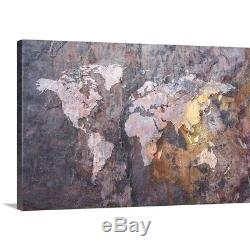 Premium Thick-Wrap Canvas Wall Art entitled World Map on Stone
