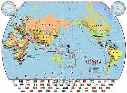 Primary Pacific Centred World Wall Map Political Poster with Flags