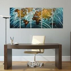 Pure Art Blue World Map Metal Wall Art, Large Scale Hanging, 3D Wall Art for