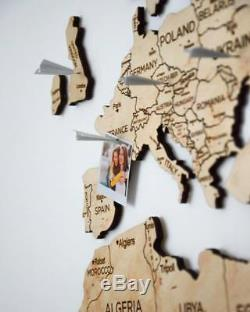 Push Pin Travel Wood World Map Home Wall Decor Large Rustic Map Of The World