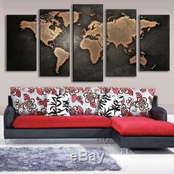 RETRO WORLD MAP Canvas Art Print for Wall Decor Painting