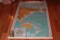 Rare Original Vintage The World 3 Panel Army Core of eng Series 1125 Wall Map