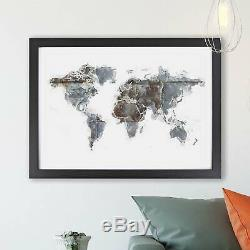 Rusted World Map in Abstract Wall Art Framed Picture Print