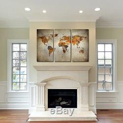 Rustic World Map Canvas Art Set of 3 giclee print Triptych wall art canvas