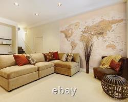 Sepia World Map Wall Mural Paste the Wall Wallpaper WALS0242