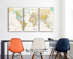 Set Of 3 World Map Stretched Canvas Prints Framed Wall Art Home Office Decor DIY