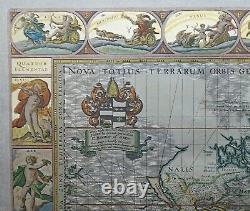 Silver Leaf Foil Wall World Map Engraving Based On The Original Moses Pitt 1681