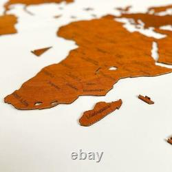 Single layer wooden map of the world on the wall Nut. Made in Ukraine