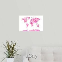 Solid-Faced Canvas Print Wall Art entitled World Map made up of Hearts
