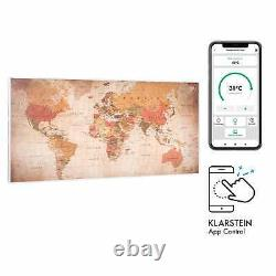 Space Infrared Heater Panel App Smart Wall Mount 120 x 60 cm 700 W World Map LCD