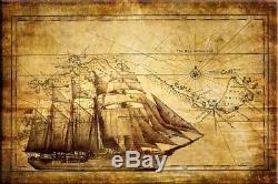 Startonight Wall Art Canvas World Map Brown, Maps Glow in the Dark, Dual View to