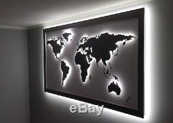 Steel World Map 3D LED Light Large Polished Wall Decor Handmade Metal Art Lamp