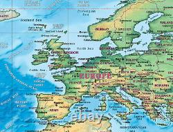 THE WORLD Physical Wall Map with Wonders (3 Sizes). Laminated
