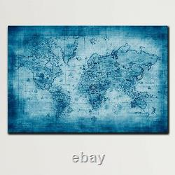 Textured Old World Map Antique and Vintage World Maps Canvas Art Print for Wall