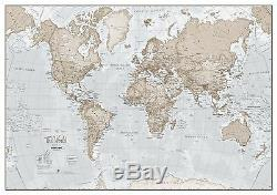 The World Is Art Wall Map Neutral Poster for Office with Size & Finish Options