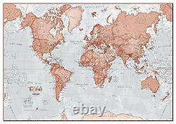 The World Is Art Wall Map Red Poster Print Art Map, Choose Size Finish