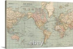 The World Vintage Map Canvas Wall Art Print, Map Home Decor