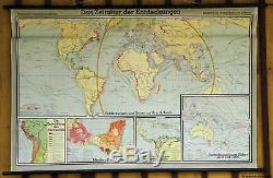 Time of discoveries vintage world map poster print pull-down wall chart