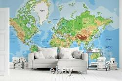 Topographic Map World Map 3D Wall Mural Removable Australia Wallpaper Murals