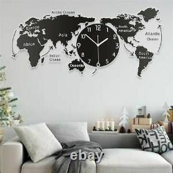Unique Acrylic Wall Clock World Map Hanging Clock For Office Home Living Room