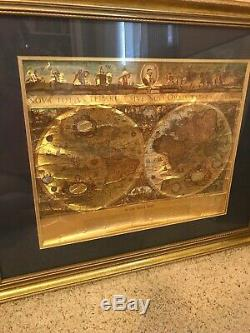VINTAGE Gold FOIL BLAEU Wall map OLD and NEW WORLD 21 BY 17 Rare Nice 1605 Cir