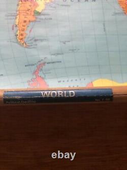 VINTAGE NYSTROM ATWOOD PULL DOWN ROLL UP WALL WORLD MAP 1968 Map No. F98