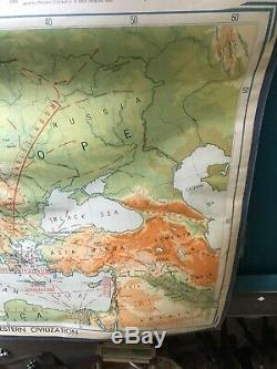 VTG Pull down School Map China Europe pacific 1956 Asia Wall World War 2 Side